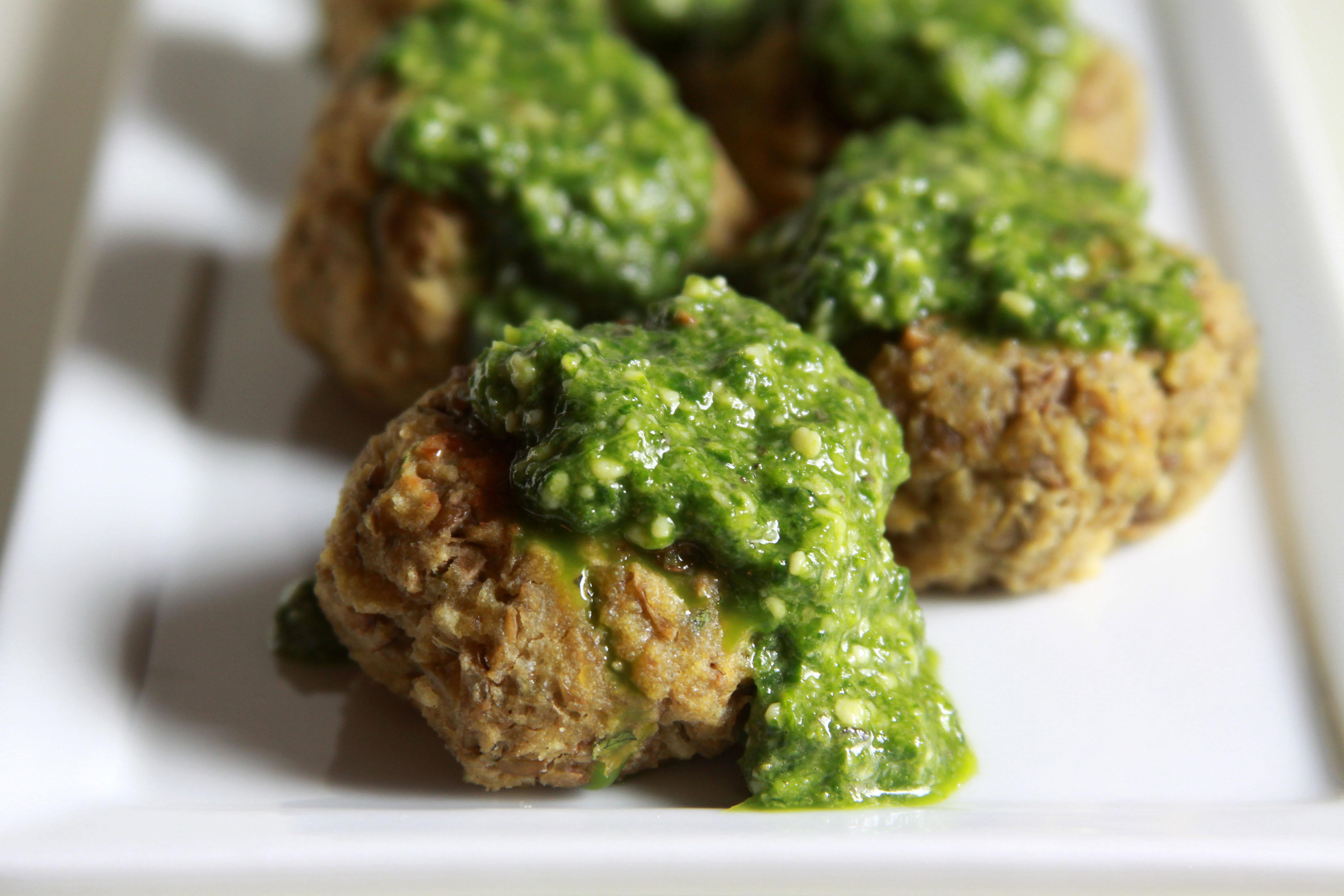 "Lentil-Ricotta ""Meatballs"" with Spinach Pesto - Espresso and ..."