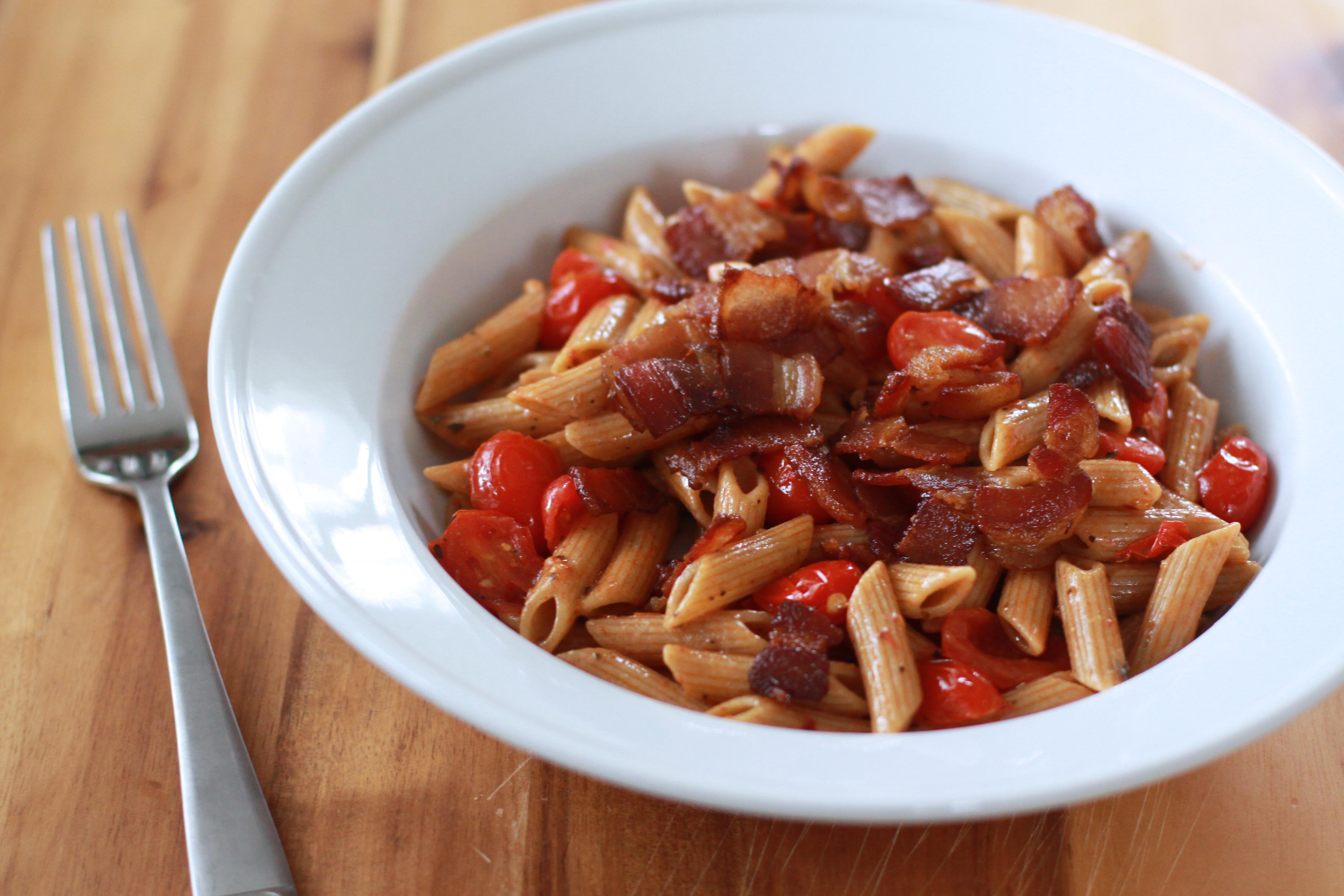 Penne With Popped Tomatoes And Bacon Recipe — Dishmaps